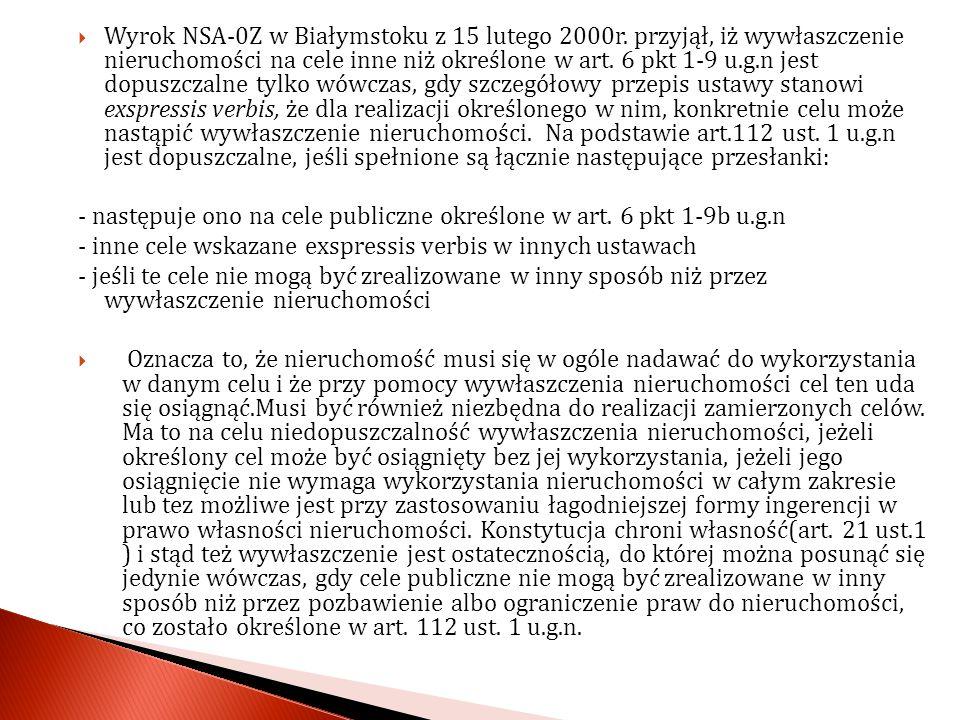 Wyrok NSA-0Z w Białymstoku z 15 lutego 2000r