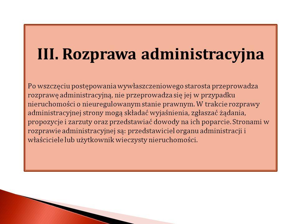 III. Rozprawa administracyjna