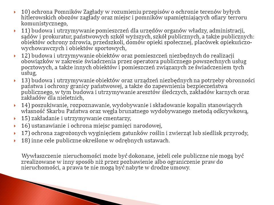 10) ochrona Pomników Zagłady w rozumieniu przepisów o ochronie terenów byłych hitlerowskich obozów zagłady oraz miejsc i pomników upamiętniających ofiary terroru komunistycznego,