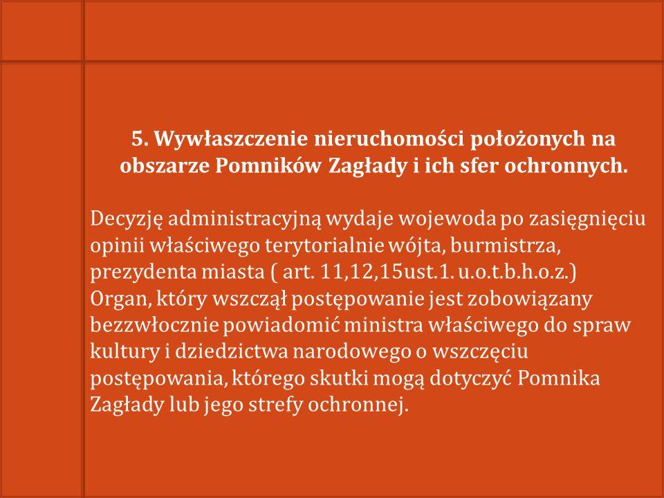 5. Wywłaszczenie nieruchomości położonych na obszarze Pomników Zagłady i ich sfer ochronnych.