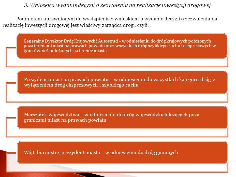 3. Wniosek o wydanie decyzji o zezwoleniu na realizację inwestycji drogowej.