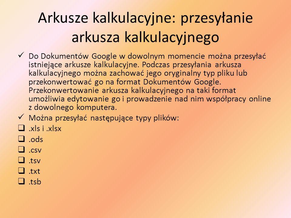 Arkusze kalkulacyjne: przesyłanie arkusza kalkulacyjnego