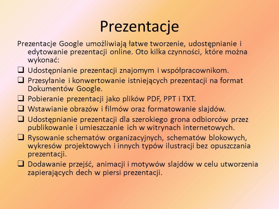 Prezentacje Prezentacje Google umożliwiają łatwe tworzenie, udostępnianie i edytowanie prezentacji online. Oto kilka czynności, które można wykonać: