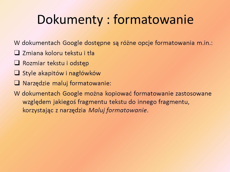 Dokumenty : formatowanie