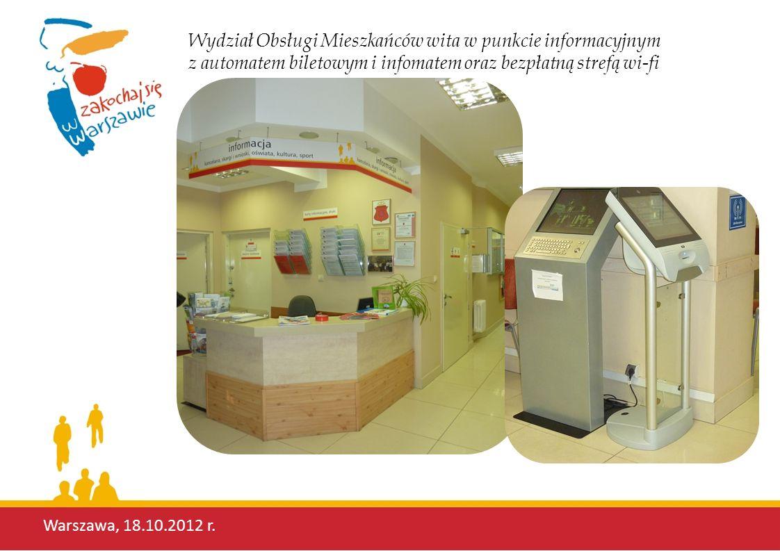 Wydział Obsługi Mieszkańców wita w punkcie informacyjnym z automatem biletowym i infomatem oraz bezpłatną strefą wi-fi