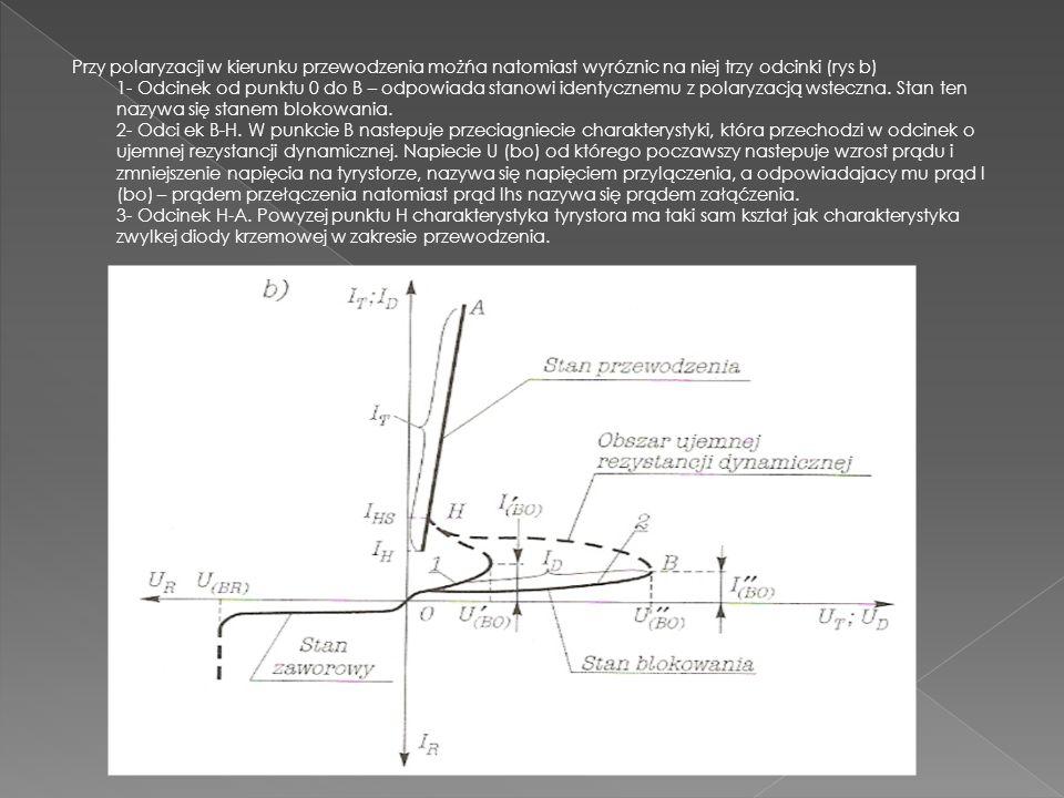 Przy polaryzacji w kierunku przewodzenia możńa natomiast wyróznic na niej trzy odcinki (rys b) 1- Odcinek od punktu 0 do B – odpowiada stanowi identycznemu z polaryzacją wsteczna.