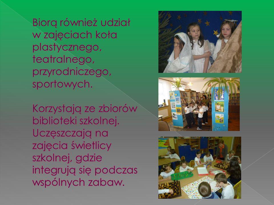Biorą również udział w zajęciach koła plastycznego, teatralnego, przyrodniczego, sportowych.