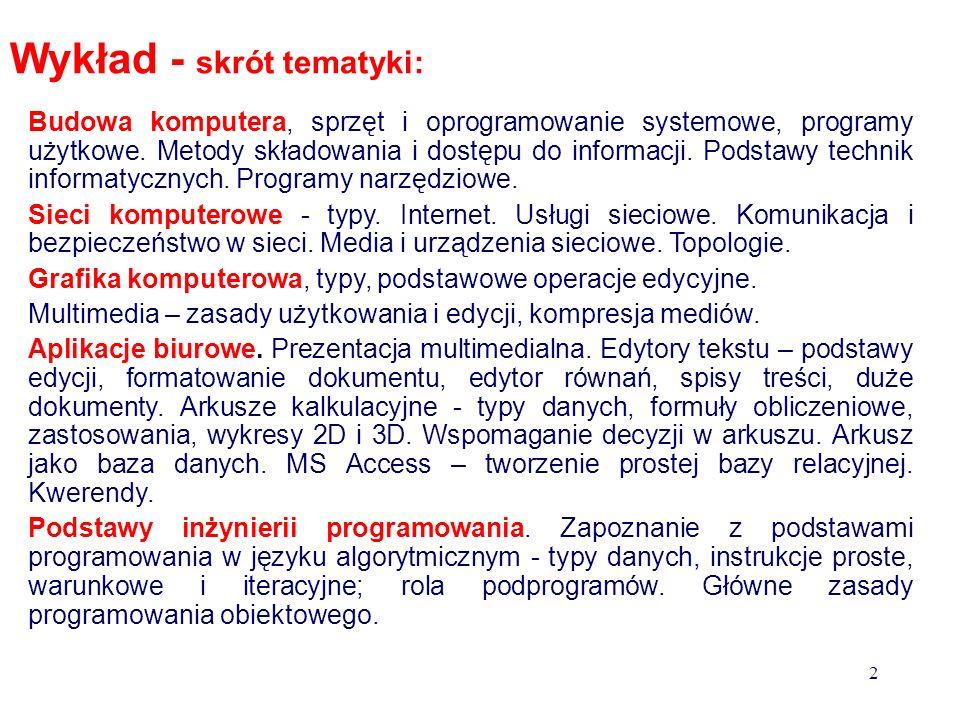 Wykład - skrót tematyki: