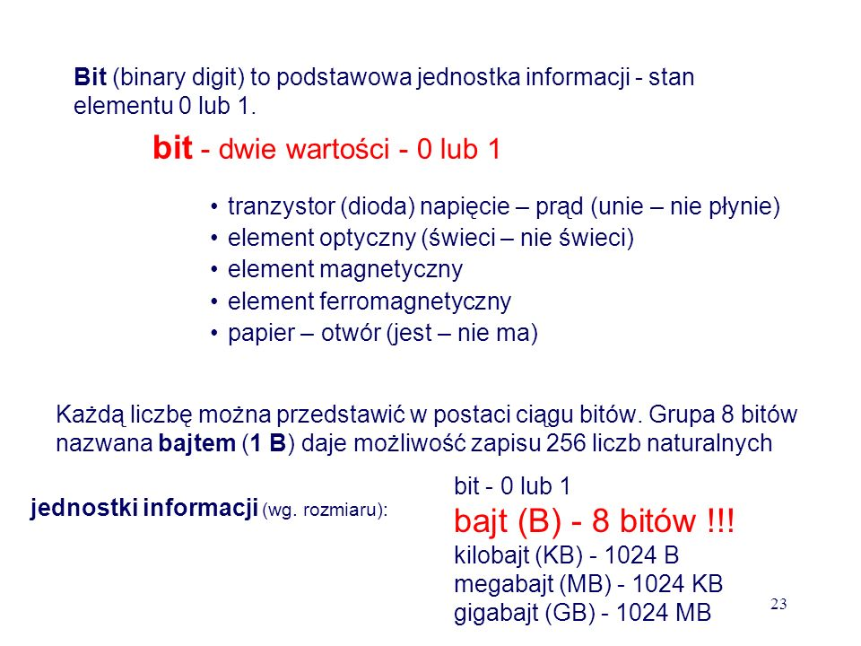 bit - dwie wartości - 0 lub 1