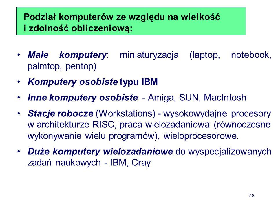 Podział komputerów ze względu na wielkość i zdolność obliczeniową: