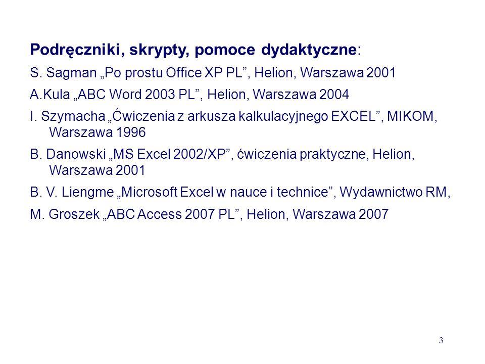 Podręczniki, skrypty, pomoce dydaktyczne:
