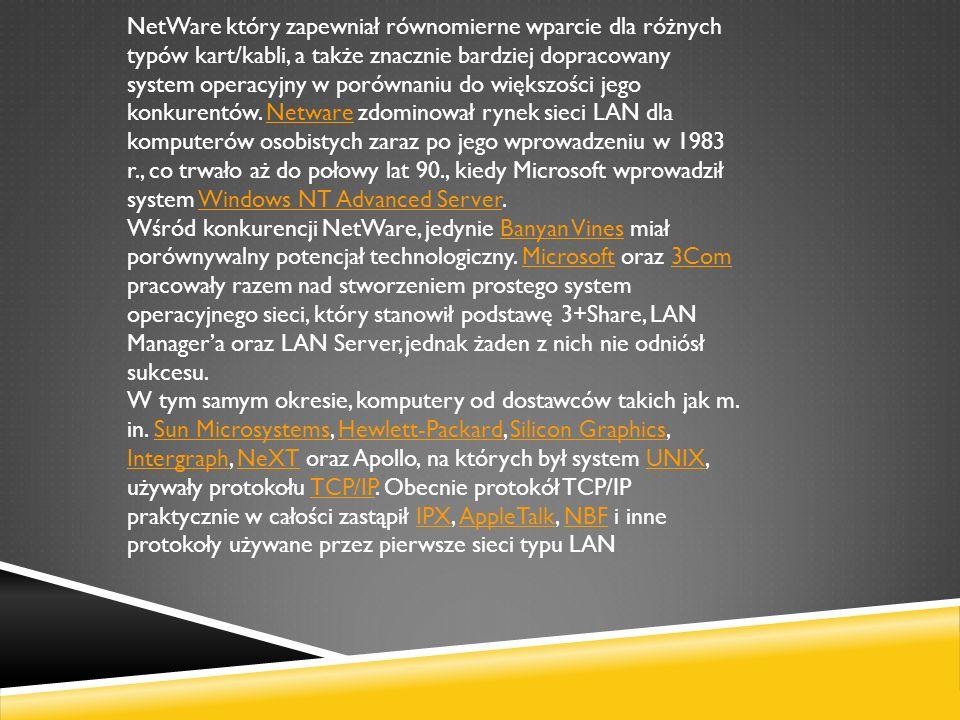 NetWare który zapewniał równomierne wparcie dla różnych typów kart/kabli, a także znacznie bardziej dopracowany system operacyjny w porównaniu do większości jego konkurentów. Netware zdominował rynek sieci LAN dla komputerów osobistych zaraz po jego wprowadzeniu w 1983 r., co trwało aż do połowy lat 90., kiedy Microsoft wprowadził system Windows NT Advanced Server.