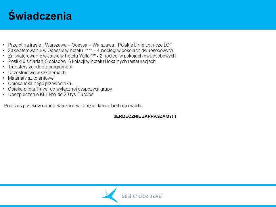 Świadczenia Przelot na trasie : Warszawa – Odessa – Warszawa . Polskie Linie Lotnicze LOT.
