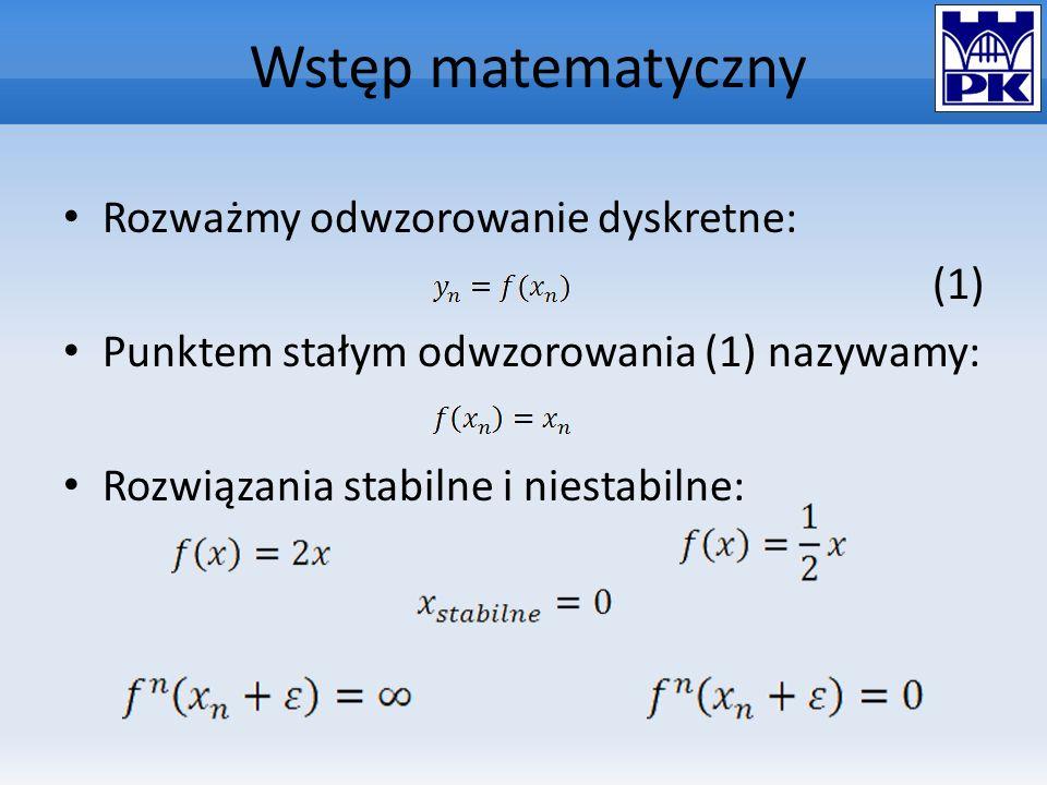 Wstęp matematyczny Rozważmy odwzorowanie dyskretne: (1)