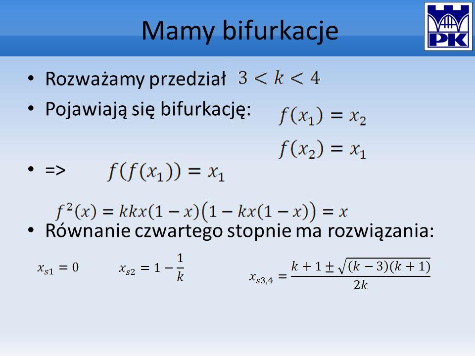 Mamy bifurkacje Rozważamy przedział Pojawiają się bifurkację: =>