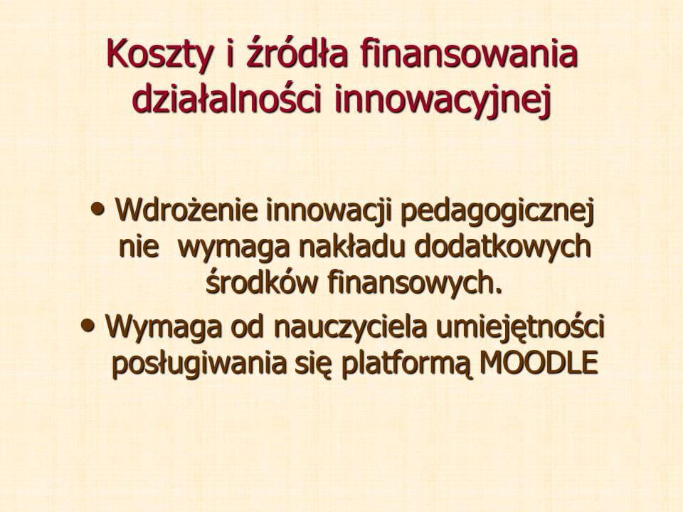 Koszty i źródła finansowania działalności innowacyjnej