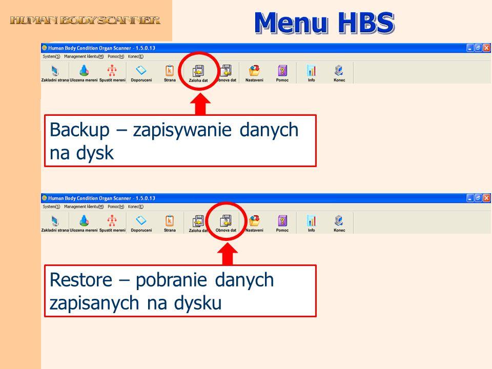 Menu HBS Backup – zapisywanie danych na dysk