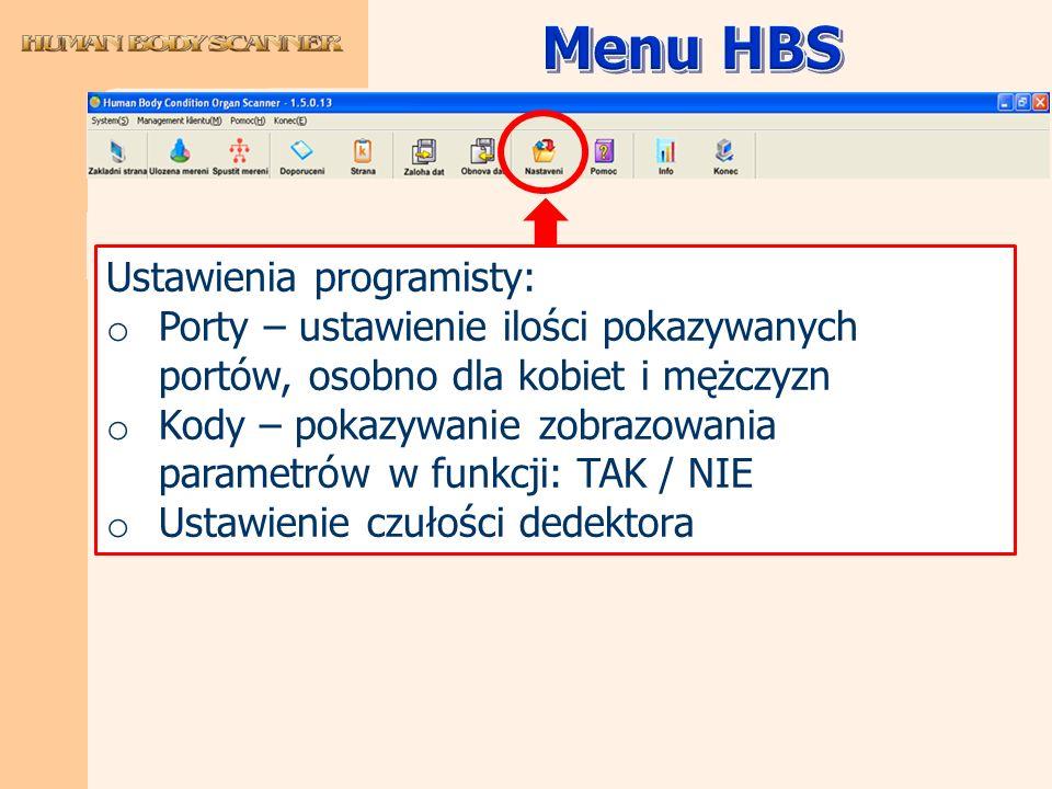 Menu HBS Ustawienia programisty: