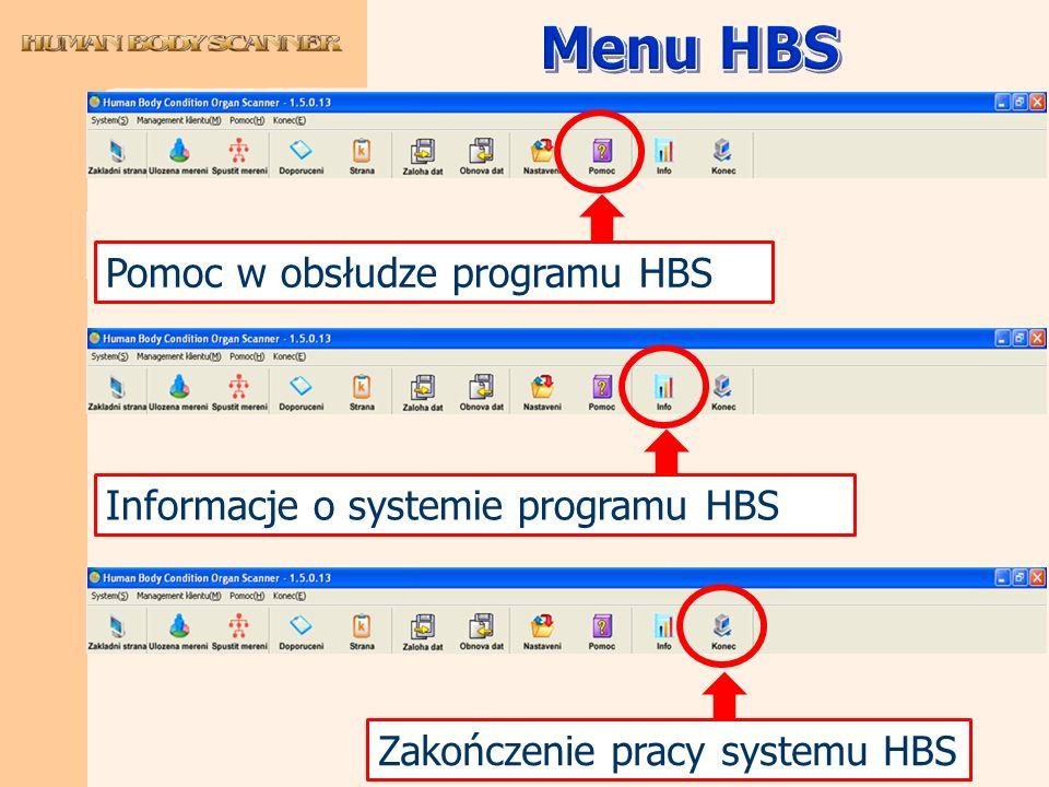 Menu HBS Pomoc w obsłudze programu HBS