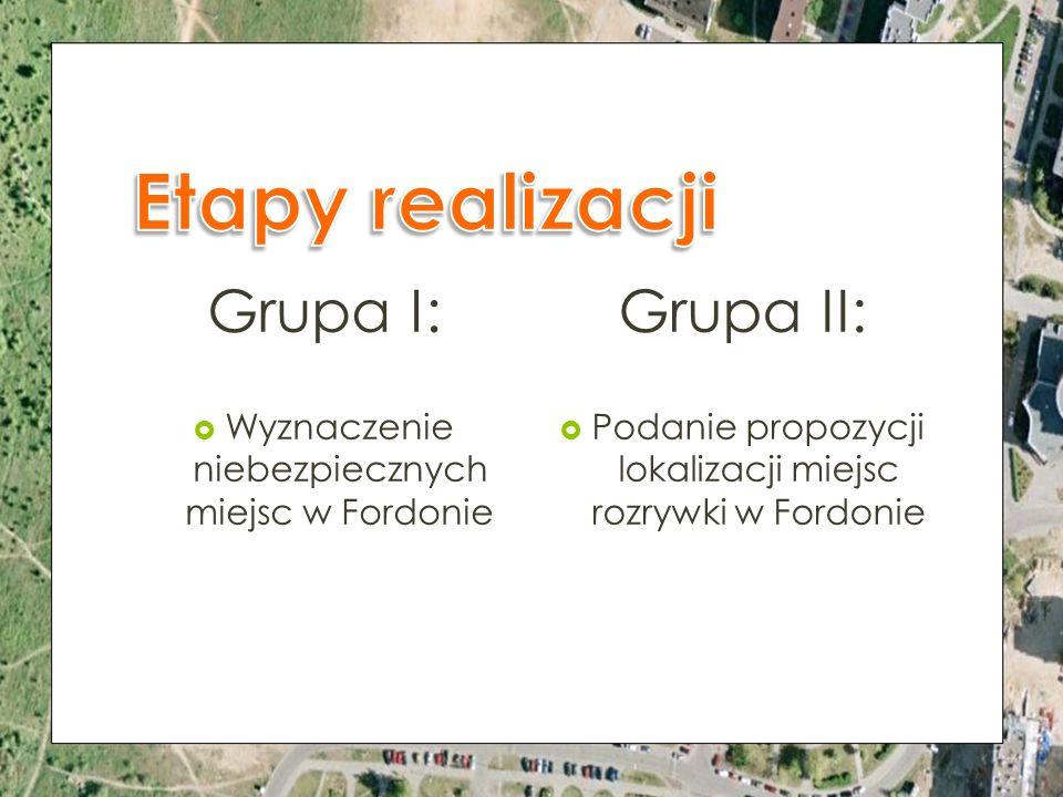 Etapy realizacji Grupa I: Grupa II: