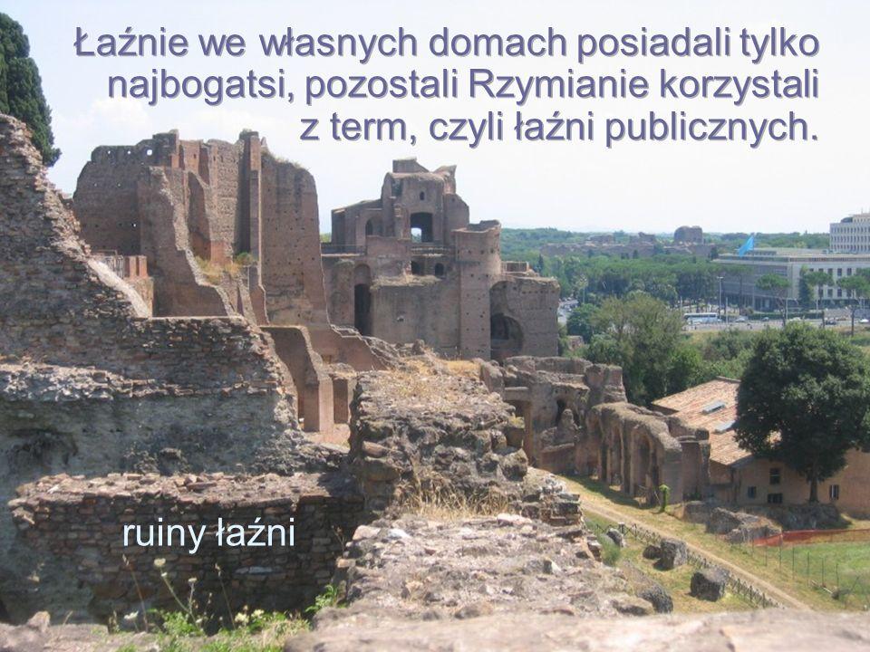 Łaźnie we własnych domach posiadali tylko najbogatsi, pozostali Rzymianie korzystali z term, czyli łaźni publicznych.