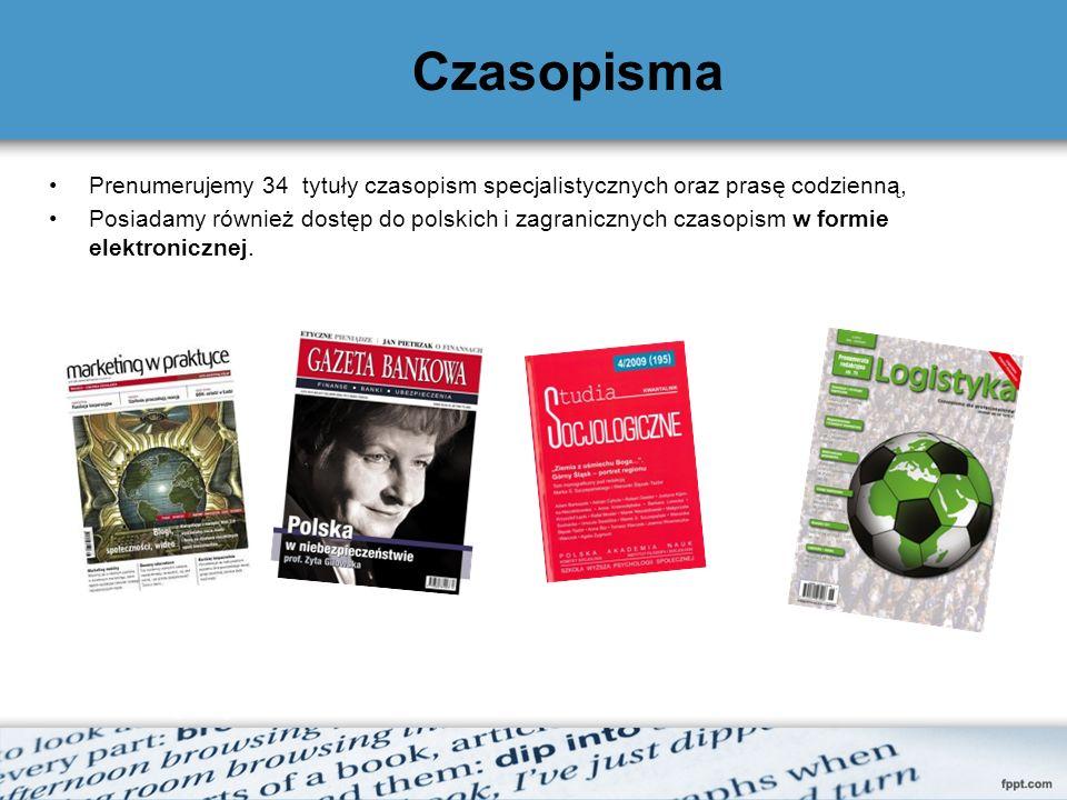 Czasopisma Prenumerujemy 34 tytuły czasopism specjalistycznych oraz prasę codzienną,