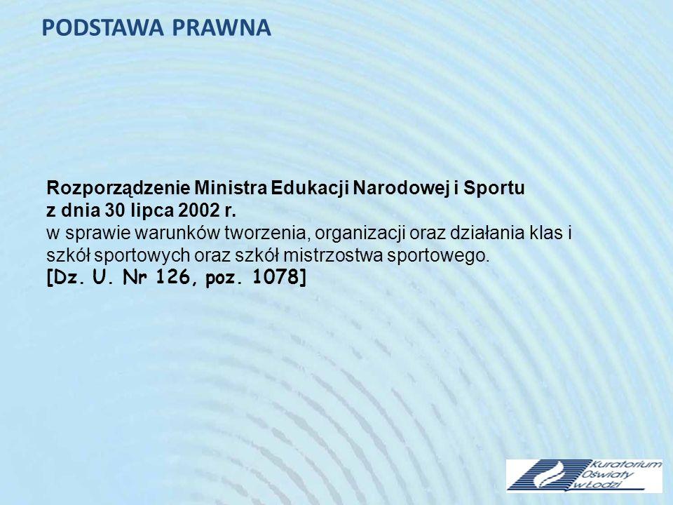 PODSTAWA PRAWNA Rozporządzenie Ministra Edukacji Narodowej i Sportu