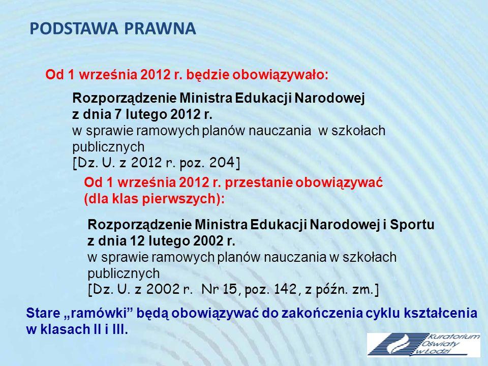 PODSTAWA PRAWNA Od 1 września 2012 r. będzie obowiązywało: