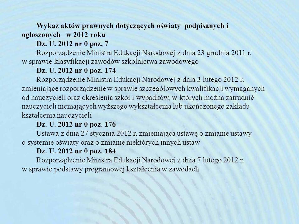 Wykaz aktów prawnych dotyczących oświaty podpisanych i ogłoszonych w 2012 roku
