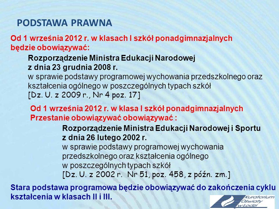 PODSTAWA PRAWNA Od 1 września 2012 r. w klasach I szkół ponadgimnazjalnych. będzie obowiązywać: