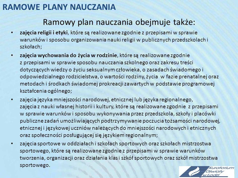 Ramowy plan nauczania obejmuje także: