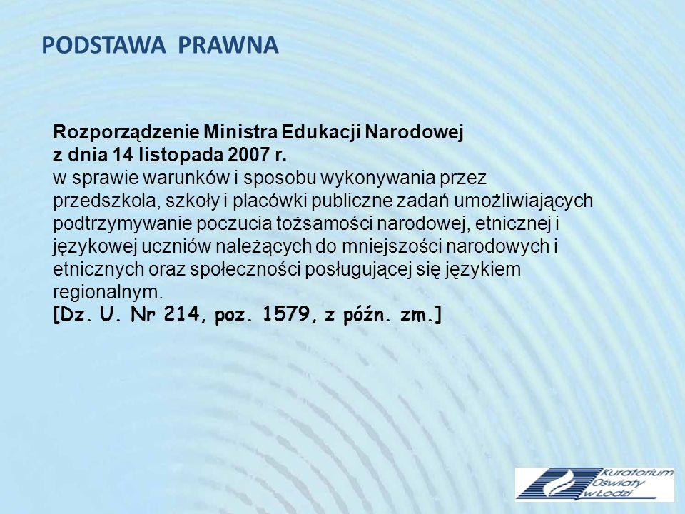 PODSTAWA PRAWNA Rozporządzenie Ministra Edukacji Narodowej