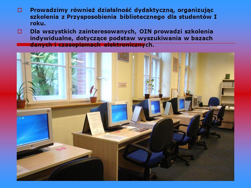 Prowadzimy również działalność dydaktyczną, organizując szkolenia z Przysposobienia bibliotecznego dla studentów I roku.