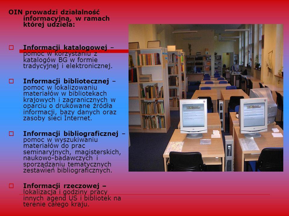 OIN prowadzi działalność informacyjną, w ramach której udziela:
