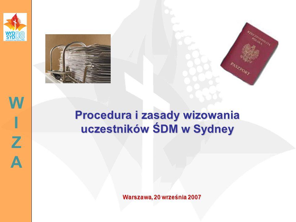 Procedura i zasady wizowania uczestników ŚDM w Sydney