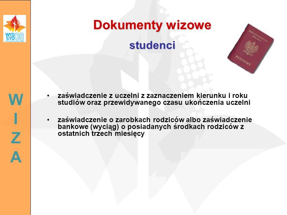 Dokumenty wizowe studenci