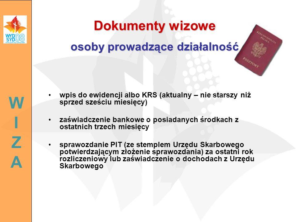 Dokumenty wizowe osoby prowadzące działalność