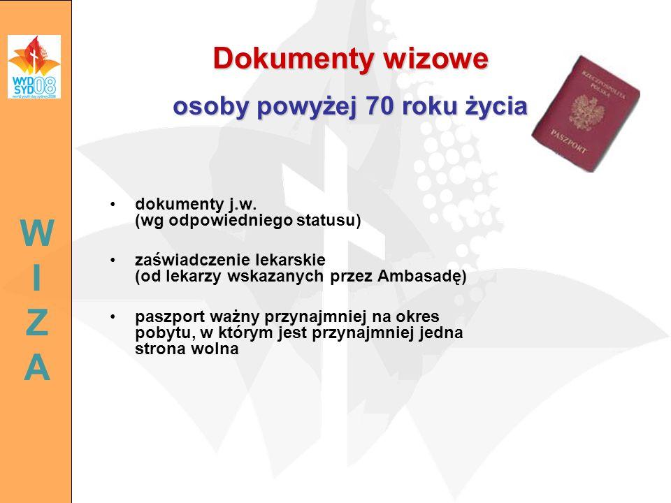 Dokumenty wizowe osoby powyżej 70 roku życia