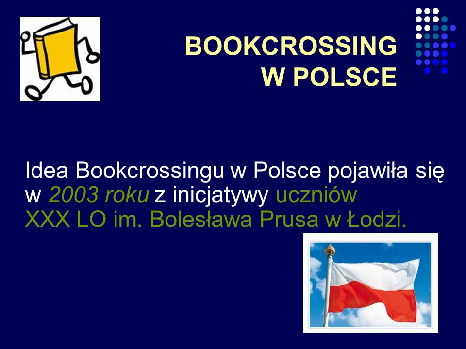 BOOKCROSSING W POLSCE Idea Bookcrossingu w Polsce pojawiła się w 2003 roku z inicjatywy uczniów XXX LO im.
