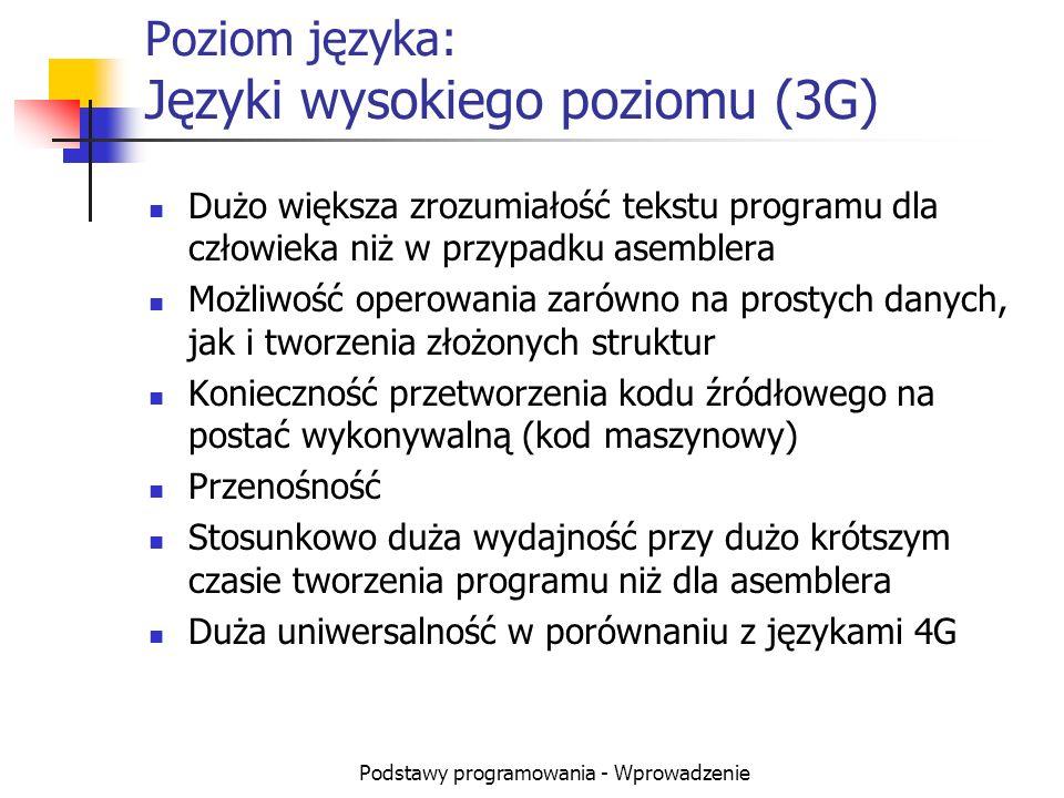 Poziom języka: Języki wysokiego poziomu (3G)