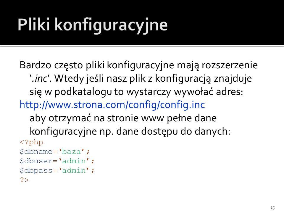 Pliki konfiguracyjne