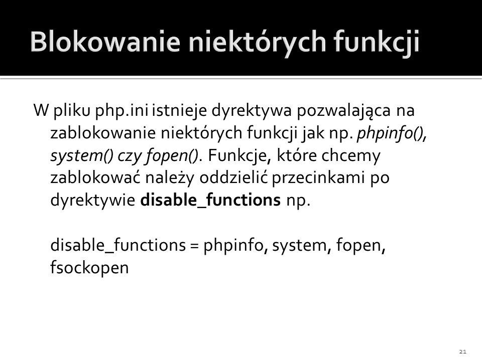 Blokowanie niektórych funkcji