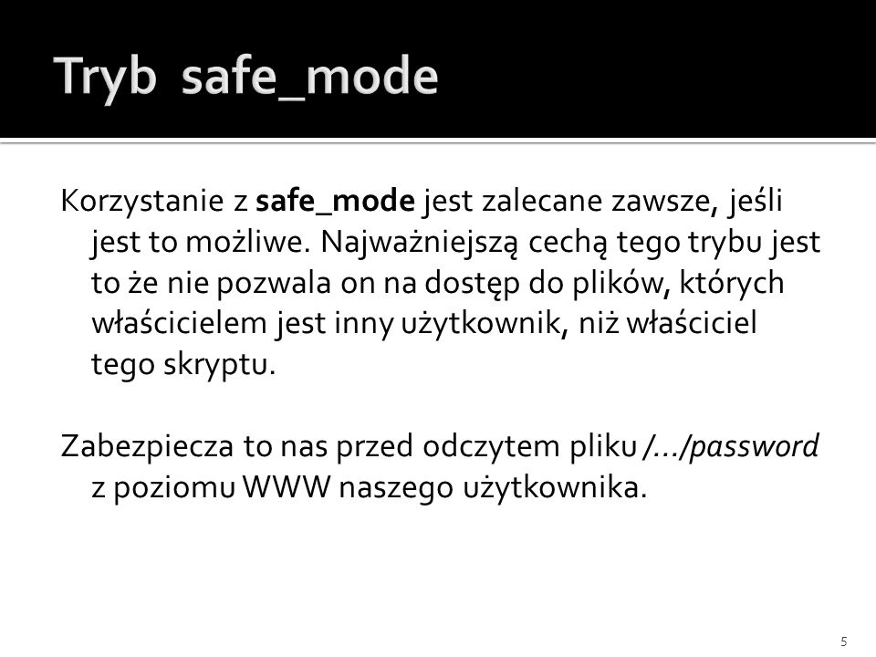 Tryb safe_mode