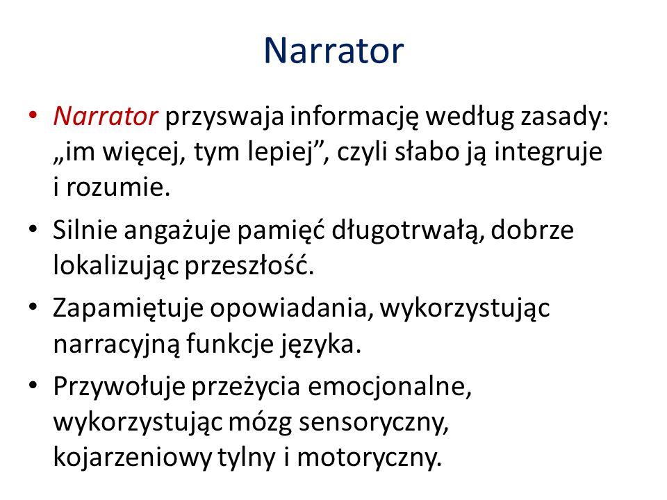 """Narrator Narrator przyswaja informację według zasady: """"im więcej, tym lepiej , czyli słabo ją integruje i rozumie."""