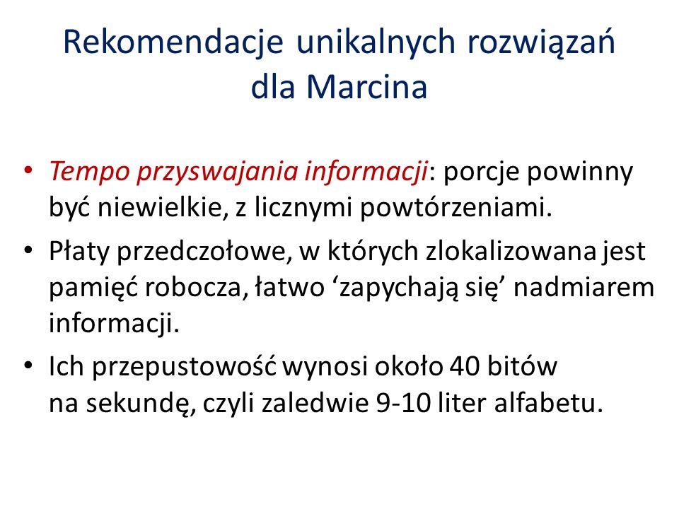 Rekomendacje unikalnych rozwiązań dla Marcina