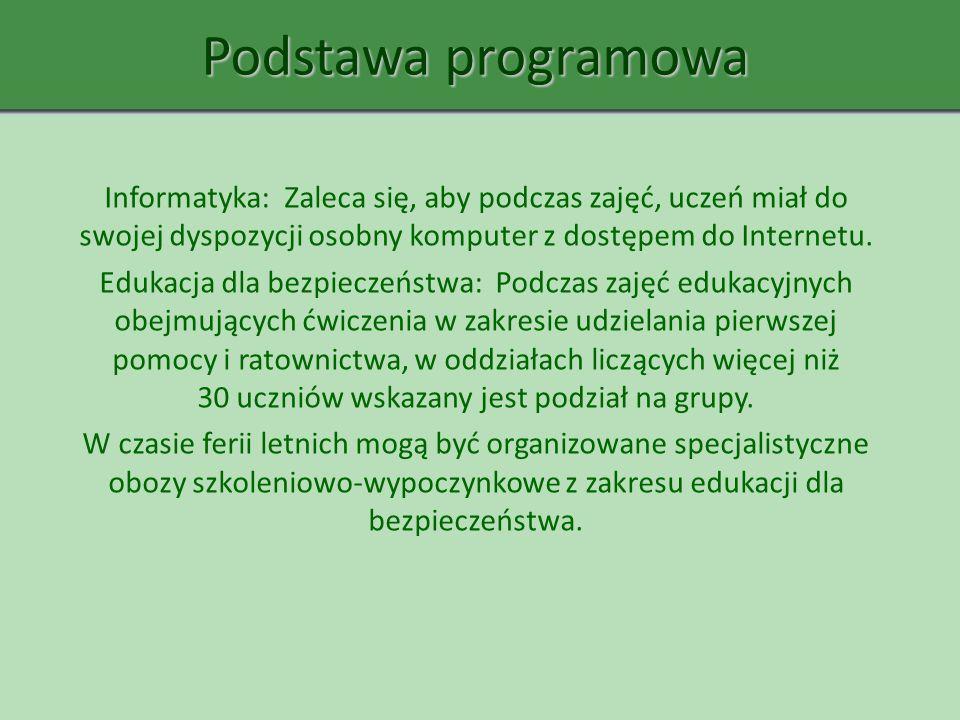 Podstawa programowa Informatyka: Zaleca się, aby podczas zajęć, uczeń miał do swojej dyspozycji osobny komputer z dostępem do Internetu.