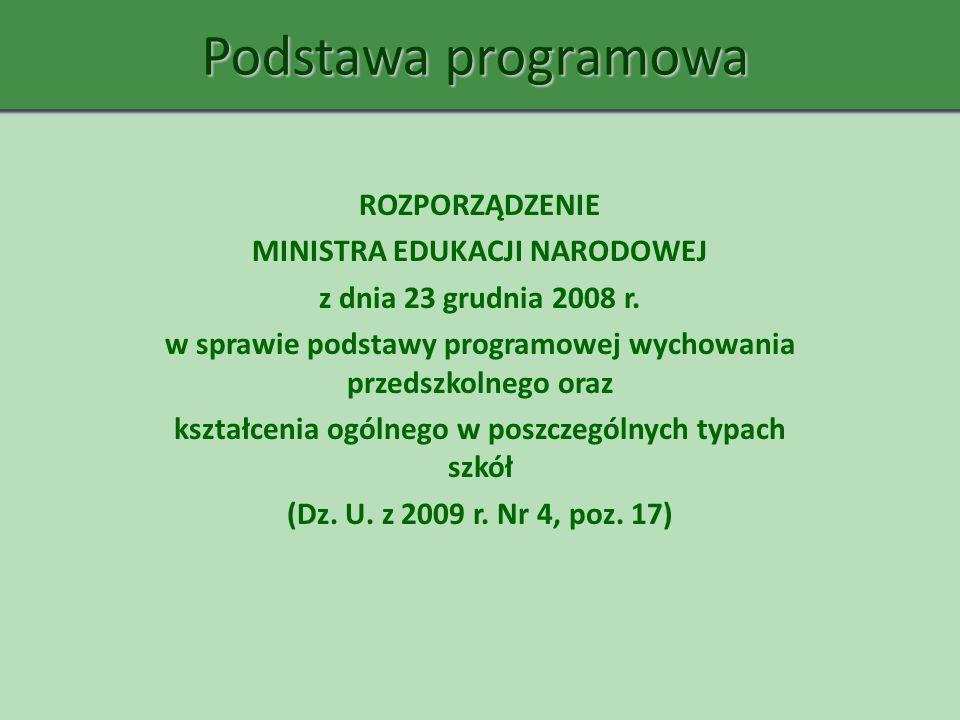 Podstawa programowa ROZPORZĄDZENIE MINISTRA EDUKACJI NARODOWEJ
