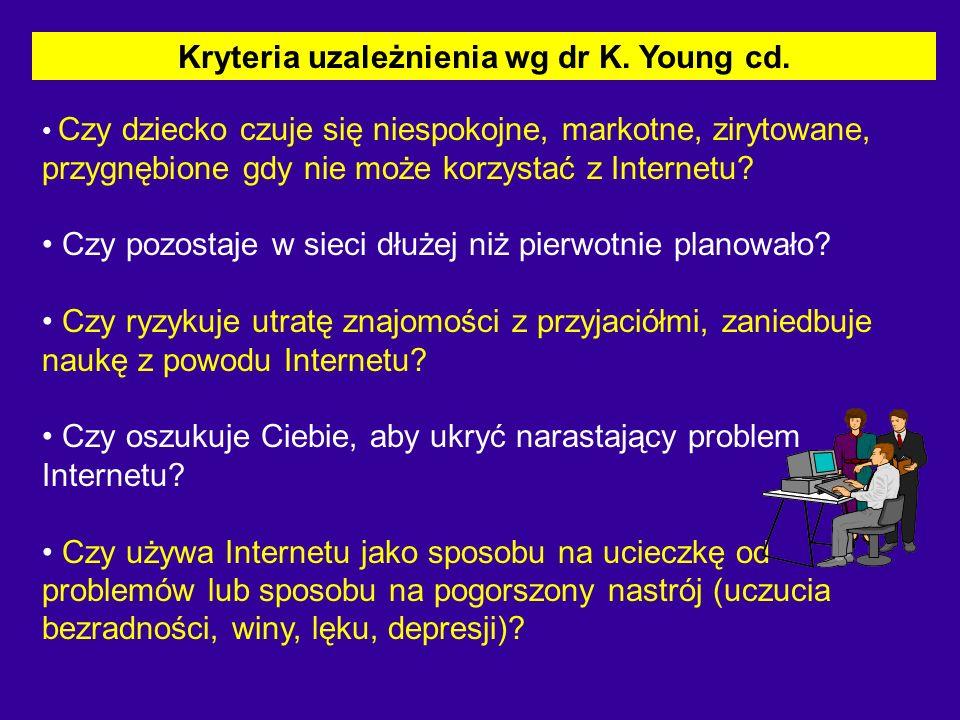 Kryteria uzależnienia wg dr K. Young cd.
