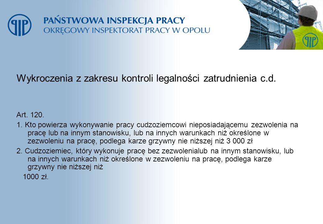 Wykroczenia z zakresu kontroli legalności zatrudnienia c.d.