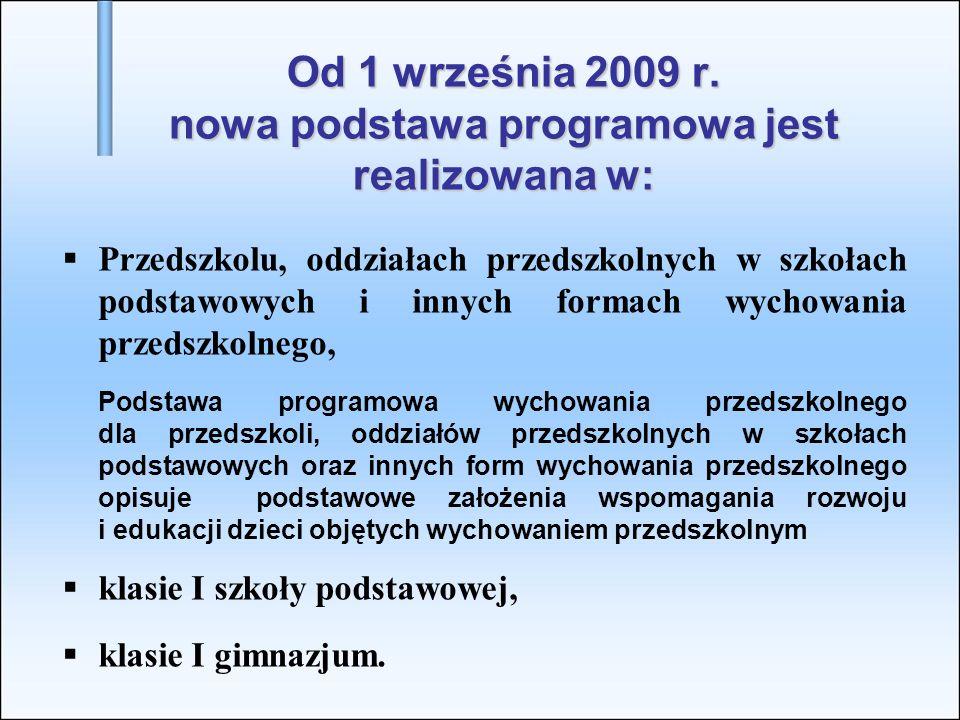 Od 1 września 2009 r. nowa podstawa programowa jest realizowana w: